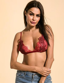 Fashion Wine Red Sling Perspective Lace Underwear
