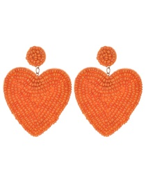 Fashion Orange Felt Cloth Rice Beads Love Earrings