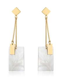 Fashion Real Gold Alloy Shell Square Earrings
