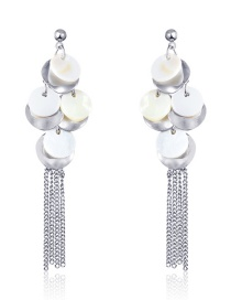 Fashion Real Platinum Alloy Shell Round Tassel Earrings