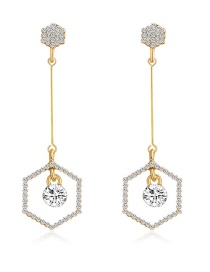 Fashion Real Gold Alloy Rhinestone Geometric Earrings