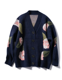 Fashion Navy Knitting Sweater With Leaves Flowers