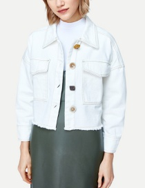 Fashion White Fringed Lapel Denim Jacket