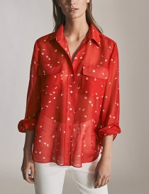Fashion Red Floral Printed Silk Shirt