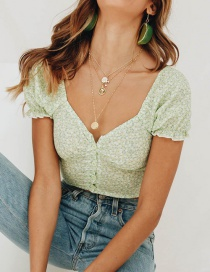 Fashion Green Floral Print Puff Sleeve Turtleneck Top