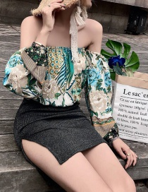 Fashion Color Peacock Shoulder Top