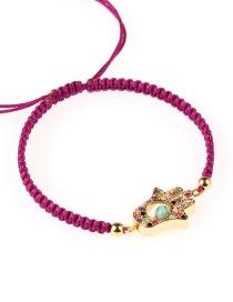 Fashion Gold Micro-inlaid Zircon Palm-shaped Eye Pattern Woven Bracelet