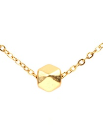 Fashion Gold Stainless Steel Color Protection Chain Three-dimensional Geometric Polygon Ball Necklace