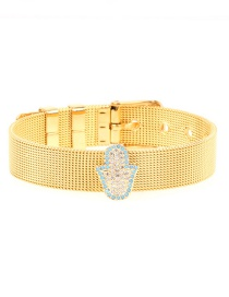 Fashion Gold Plated Gold-coloured Micro-inlaid Zircon Palm Bracelet