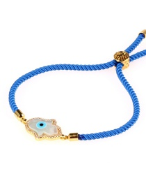 Fashion Blue Palm Micro-inlaid With Diamond Shells Pulling Milan Line Bracelet