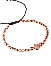 Fashion Rose Gold Real Gold Plated Solid Copper Beads Micro-inlaid Zircon Bracelet