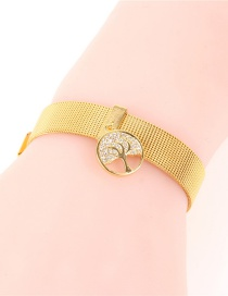 Fashion Gold Real Gold Color Micro-inlaid Zircon Tree Of Life Bracelet