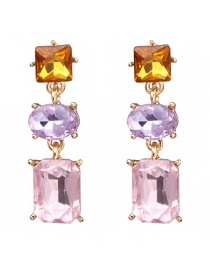 Fashion Pink Glass Drill Inlaid Earrings