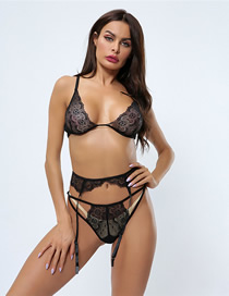 Fashion Black Three-piece Rimless Lace Lingerie