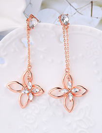 Fashion Rose Gold S925 Sterling Silver Alloy Diamond Flower Earrings