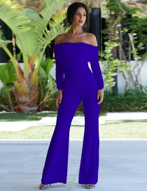 Fashion Royal Blue Solid Color Stitching Mesh Pleated Jumpsuit