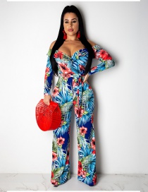Fashion Blue Ruffled Shoulder Print Tie With Jumpsuit