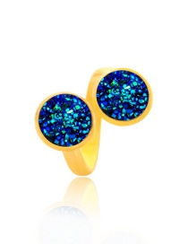 Fashion Gold + Dark Blue Dual Interface Clusters Adjust Natural Stone Ring
