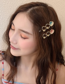 Fashion Pink Heart-shaped Hollow Hair Clip
