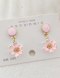 Fashion Pink Flower S925 Silver Flower Earrings