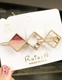 Fashion Wine Red Geometric Diamond Hollow Hairpin