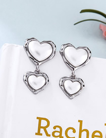 Fashion Platinum S925 Sterling Silver Heart-shaped Alloy Earrings