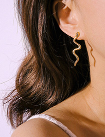 Fashion Gold Curved Alloy Serpentine Geometric Earrings