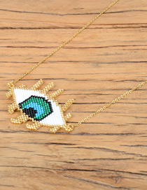 Fashion White Rice Beads Weave Religious Totem Evil Eyes Electroplated Color Necklace