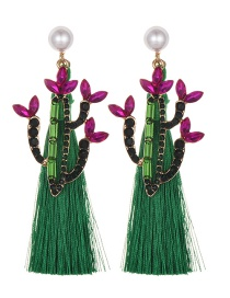 Fashion Green Alloy Studded Pearl Cactus Tassel Earrings