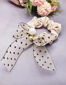 Fashion Beige Lace Bow Pearl Fabric Knotted Hair Ring