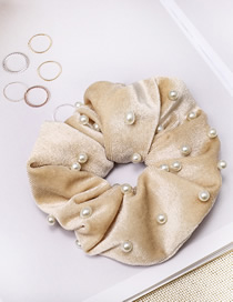 Fashion Beige Gold Velvet Fabric Nail Pearl Hair Ring