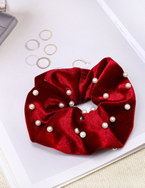 Fashion Red Wine Gold Velvet Fabric Nail Pearl Hair Ring