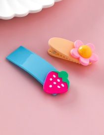 Fashion Strawberry Blue Flower Fruit Hair Clip 2 Piece Set