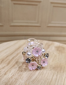 Fashion Pink Flower Pearl Diamond Small Grip