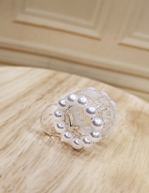 Fashion White Flower Pearl Diamond Small Grip