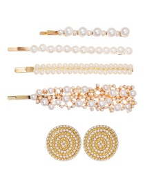 Fashion Gold Alloy Pearl Rhinestone Hairpin Earrings Set Of 6