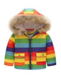 Fashion Striped Rainbow Printed Hooded Children's Cotton Coat