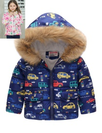 Fashion Blue-colored Car Printed Hooded Children's Cotton Coat
