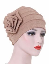 Fashion Khaki Side Flower Turban Cap