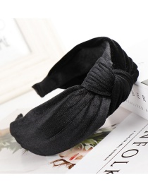 Fashion Black Knotted Gold Velvet Wide-brimmed Fabric Headband