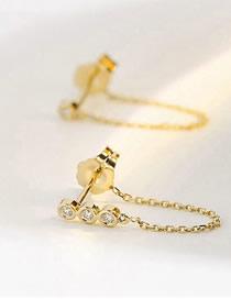 Fashion Gold Stainless Steel Inlay Zircon Chain Tassel Earrings