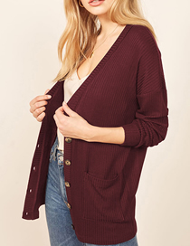 Fashion Red Wine Sunscreen Single-breasted Knit Cardigan