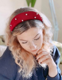 Fashion Red Flannel Flat Nails Pearl Wide-brimmed Headband