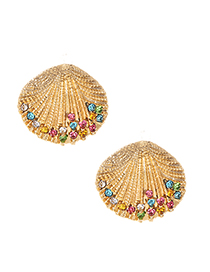 Fashion Color Drill Alloy Diamond-studded Pearl Shell Shape Earrings