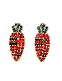 Fashion Red Alloy Studded Carrot Earrings