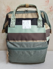 Fashion Light Green Stripes Striped Backpack