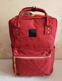 Fashion Red Wine Oxford Spinning Portable Backpack
