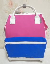 Fashion Rose Blue Color Pu Colorblock Waterproof Backpack