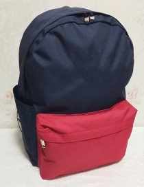 Fashion Red And Blue Color Matching Canvas Backpack