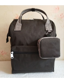 Fashion Black And Gray Color Matching Canvas Backpack
